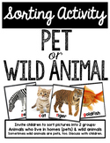 Pets vs Wild Animals Sorting Activity Cards