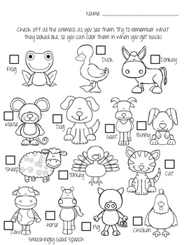 Petting Zoo Field Trip Activity Packet