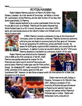 Peyton Manning Biography Reading Comprehension Worksheet; Cause & Effect