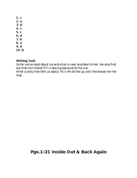 Inside Out Back Again PARCC Aligned Test Pgs.1-21