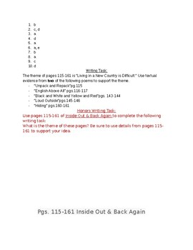 Inside Out Back Again PARCC Aligned Test Pgs.115-161