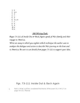 Inside Out Back Again PARCC Aligned Test Pgs.73-111