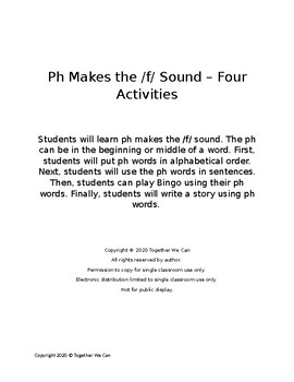 Ph Makes the /f/ Sound - Four Activities