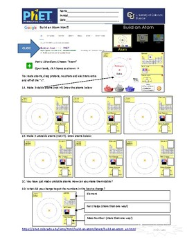 PhET Chemistry 9-pack of Student On-line Simulation Guides