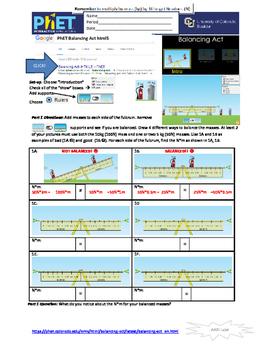 PhET Balancing Act (torque) in html5
