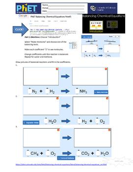 PhET Balancing Reactions Simulation in html5
