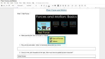 PhET Force and Motion Simulation for Google Doc/Google Classroom (NGSS)
