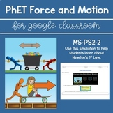 PhET Force and Motion Simulation for Google Doc/Google Cla