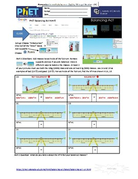 PhET Physics 4-pack of Student On-line Simulation Guides