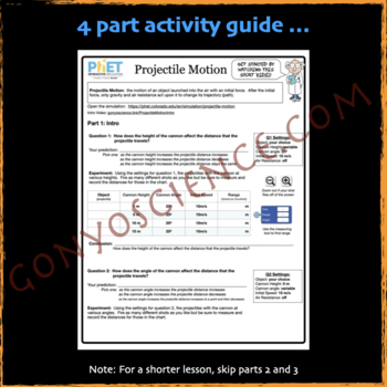 PhET Projectile Motion activity guide