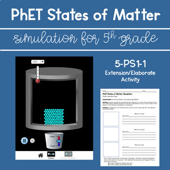 PhET States of Matter for 5th Grade * 5-PS1-1 Extension/Elaborate Activity