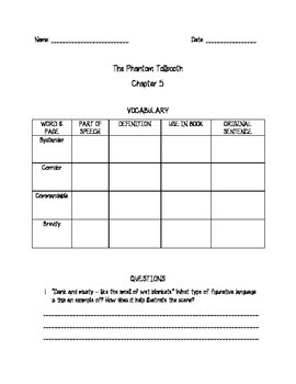 Phantom Tollbooth Comprehension for Chapters 5-8