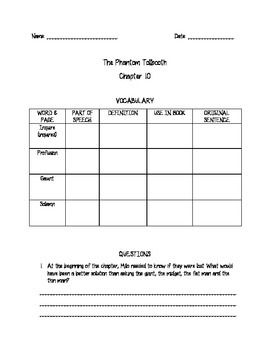 Phantom Tollbooth Comprehension for Chapters 9-12