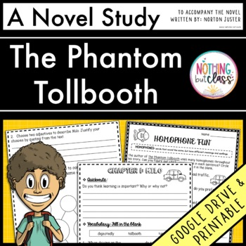 The Phantom Tollbooth Novel Study Unit: comprehension, voc