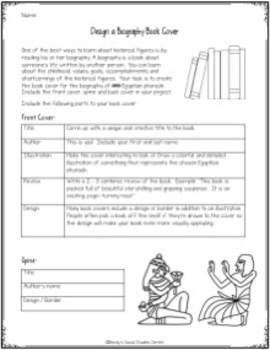 Pharaohs of Ancient Egypt Project: Create the Biography Book Jacket