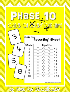 Phase 10 Order of Operations Game