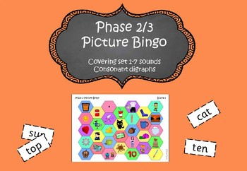 Phonics Phase 2/3 Picture Bingo - covering set 1-7 sounds and consonant digraphs