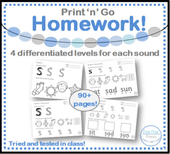 Phase 2 Phonics homework Worksheets bundle