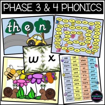 Phase 3 And 4 Phonics High Frequency Word Games Bundle By No Worksheets Allowed