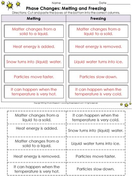 Phase Changes: Melting and Freezing Cut and Paste Activity #1 - Matter