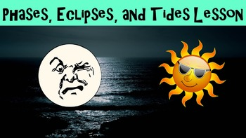Phases, Eclipses and Tides No Prep Lesson w/ Worksheet, Power Point and Activity