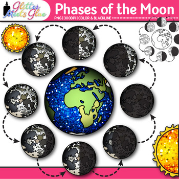 Phases of the Moon Clip Art | Earth's Solar System Graphics for Science