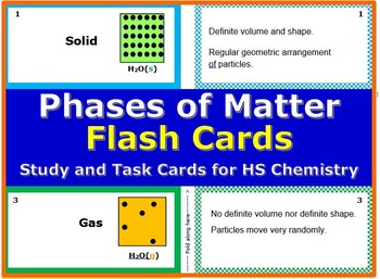 Phases of Mater: Printable Flash Cards for HS chemistry