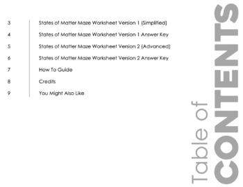 Phases of Matter Maze Worksheet for Review or Assessment