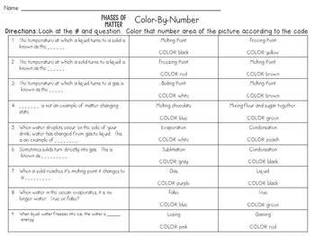 Phases of Matter: Melting, Freezing, and Boiling Point: Color-By-Number