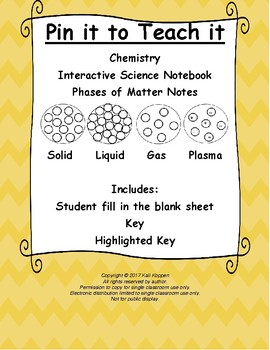 Phases of Matter/States of Matter Notes (solid, liquid, gas, & plasma)