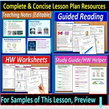 Phases of Matter and Temperature: Guided Reading & Worksheets for HS Chem