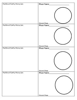 Phases of Moon Foldable (Sun Moon Earth Positions Included)