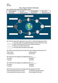 Phases of the Moon - Worksheet