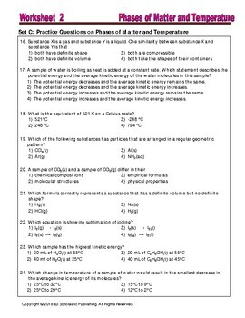 Phase and Phase Change - Worksheets and Practice Questions for HS ...