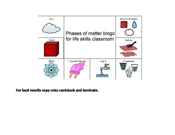 Phases of matter vocabulary-Special education