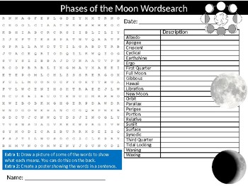Phases of of the Moon Wordsearch Puzzle Sheet Activity Keywords Physics Science