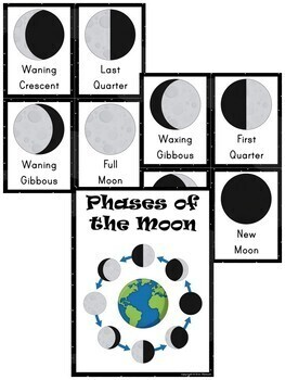 Phases of the Moon ~ Worksheets and Picture Cards