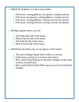 Phases of the Moon Assessment - 4th Grade Science