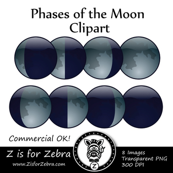 Phases of the Moon Clip Art - CU Ok { Z is for Zebra }