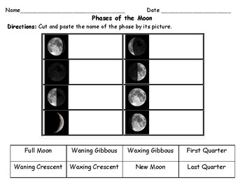 Phases of the Moon Cut & Paste