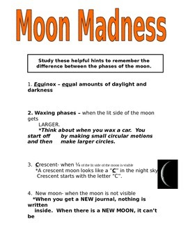 Phases of the Moon Guide Sheet