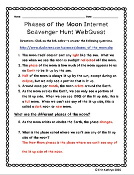 Phases of the Moon Internet Scavenger Hunt WebQuest Activity