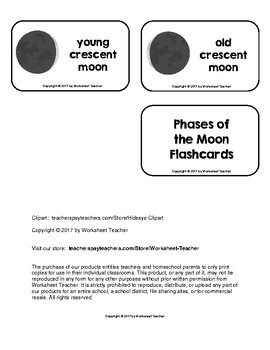 Phases of the Moon Picture Word Flash Cards