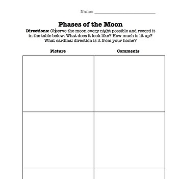 Phases of the Moon Recording Chart