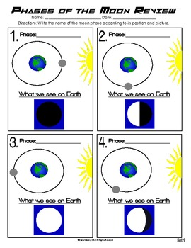Phases of the Moon Review - 3 Worksheet Set