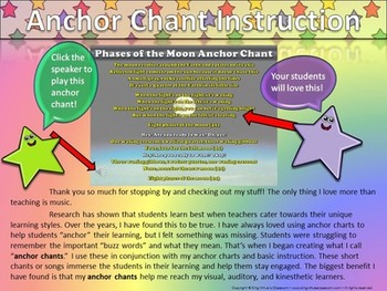 Phases of the Moon Song - Anchor Chart and Chant Audio - King Virtue