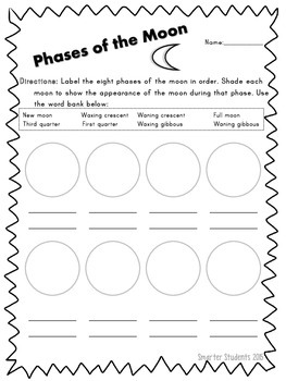 Phases of the Moon Student Pages
