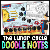 PHASES OF THE MOON SCIENCE DOODLE NOTES, INTERACTIVE NOTEBOOK, MINI ANCHOR CHART