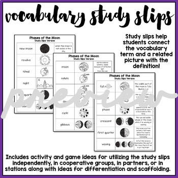 Phases of the Moon Vocabulary Bundle