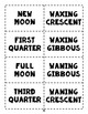 Phases of the Moon Vocabulary Reference Sheets and Flash Cards